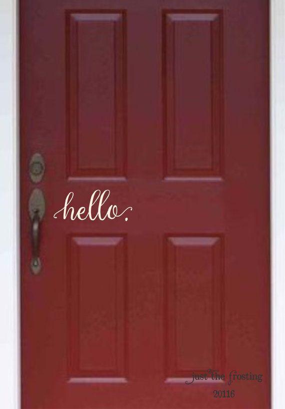 Hello. Decal - Farmhouse Wall Decor - Farmhouse Decor - hello. Wall Decal Vinyl Lettering for a front door - Country Cottage Decor