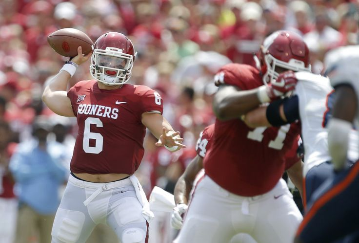 Oklahoma's Baker Mayfield (6) throws a pass during a college football game between the Oklahoma Sooners (OU) and the University of Texas at El Paso Miners (UTEP) at Gaylord Family-Oklahoma Memorial Stadium in Norman, Okla., Saturday, Sept. 2, 2017. Photo by Bryan Terry, The Oklahoman