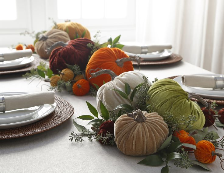 velvet pumpkin tablescape from the curiosities shop and fall collection by raz imports shop raz