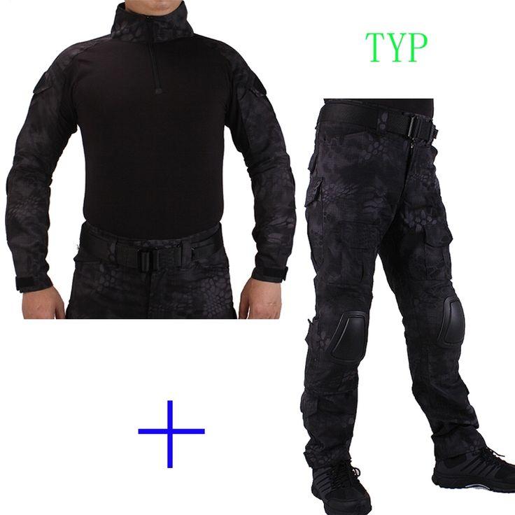 59.84$  Buy here - http://aliyhc.worldwells.pw/go.php?t=32750553238 - Hunting Camouflage BDU TYP Combat uniform shirt met Broek en Elbow & KneePads militaire cosplay uniform ghilliekostuum jacht