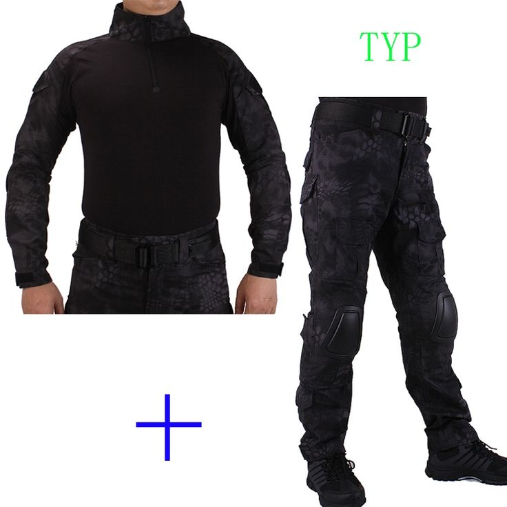59.84$  Buy here - http://aliyhc.worldwells.pw/go.php?t=32750553238 - Hunting Camouflage BDU TYP Combat uniform shirt met Broek en Elbow & KneePads militaire cosplay uniform ghilliekostuum jacht