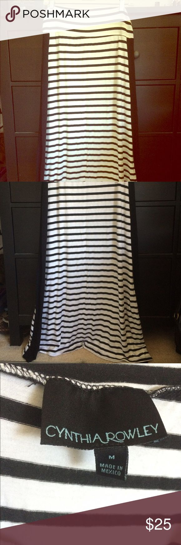 Striped Maxi Skirt Selling this black and white striped maxi skirt! New condition! Perfect to wear this summer when walking around or going to the pool! Cynthia Rowley Skirts Maxi