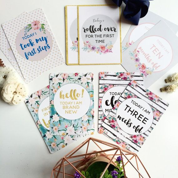 Watercolour floral baby milestone + moment cards, $29 - perfect addition to your little ones baby snaps #babyshowergift #newbaby #babyhospitalbag #newbornoutfit by www.lovepaperink.com