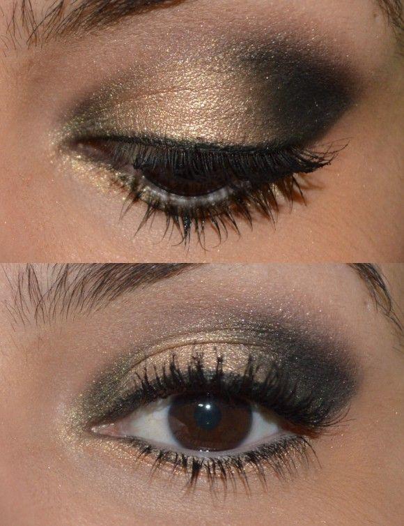 Sombras Half Baked da Palette Naked 2 (dourada), Blackout da Palette Naked 2 (preta) e Tease da Palette Naked 2 no côncavo + delineador em gel.