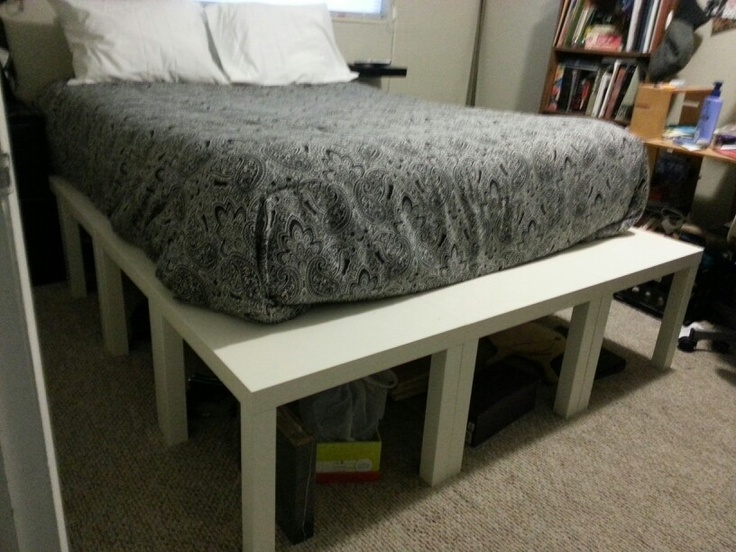 queen bed platform made from ikea lack end tables total cost under 100 i added a lack. Black Bedroom Furniture Sets. Home Design Ideas