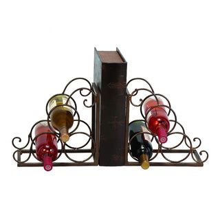 Metal Brown Bookend Wine Holder