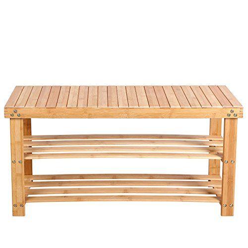 songmics 2 tier natural bamboo shoe rack bench storage or https