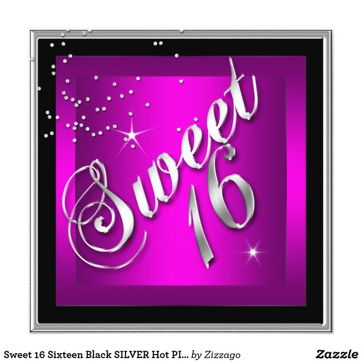 Sweet 16 Sixteen Black SILVER Hot PINK Card Elegant Sweet 16 Sixteen Birthday Party Black SILVER Hot PINK Invitations Girls Womans Party invites affordable cheap stylish modern Template custom designs.