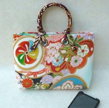 Vintage wedding kimono fabric mini tote bag by MangoFrooty, $34.00