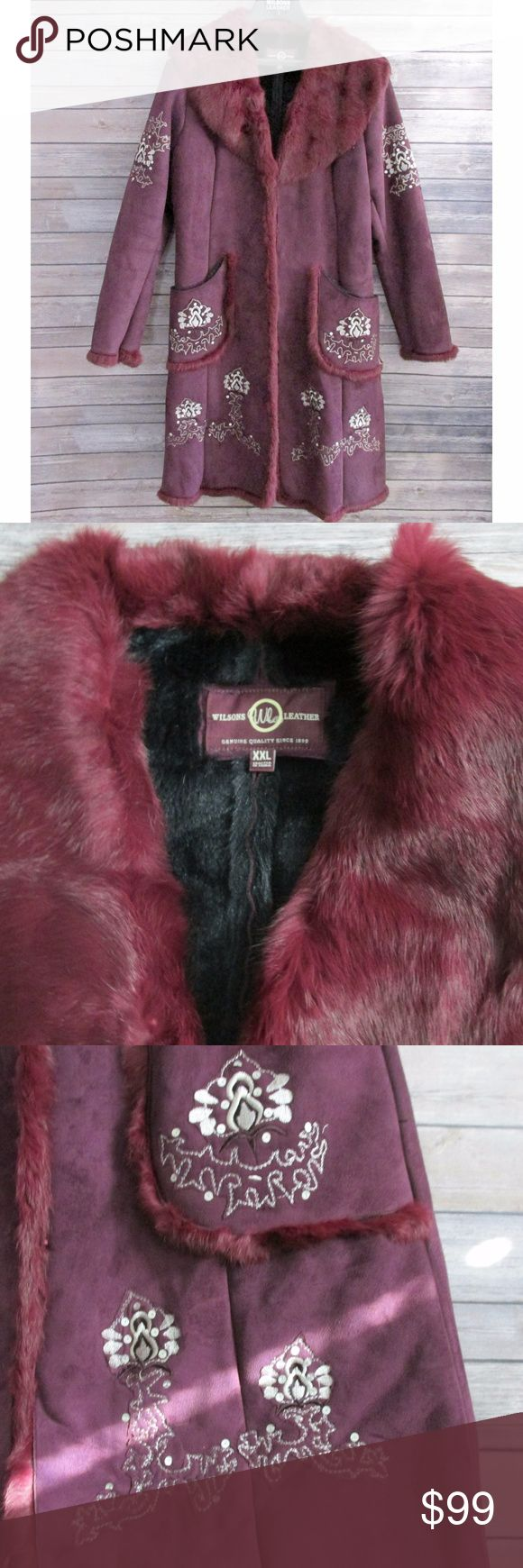 "Wilsons Leather Burgundy Fur Sherpa Coat burgundy Sherpa coat with silver stitching and sequins. The coat has dyed rabbit fur on the collar, the wrists, the hem and front closure. It is soft and gorgeous. The coat has hook closure down the front. Faux fur lining.  The coat has been worn and loved but is in excellent condition.   Condition: Pre-Owned Type: Coat Style: Heavy Coat Brand: Wilson's Leather Size: XXL Measurements: 48"" Chest, 42"" Length, 24"" Sleeve Materials: Shell Polyester, Trim…"