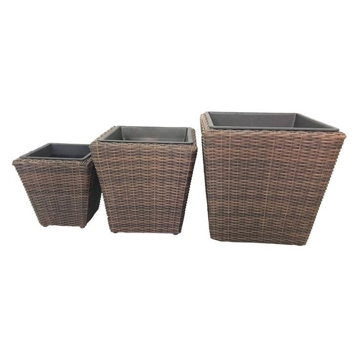 Grapevine Premier Square Resin Planters - Set of 3