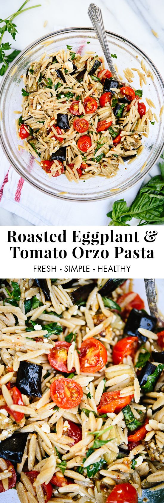 Roasted eggplant, tomato and feta pasta! It's a super easy and healthy weeknight dinner. cookieandkate.com