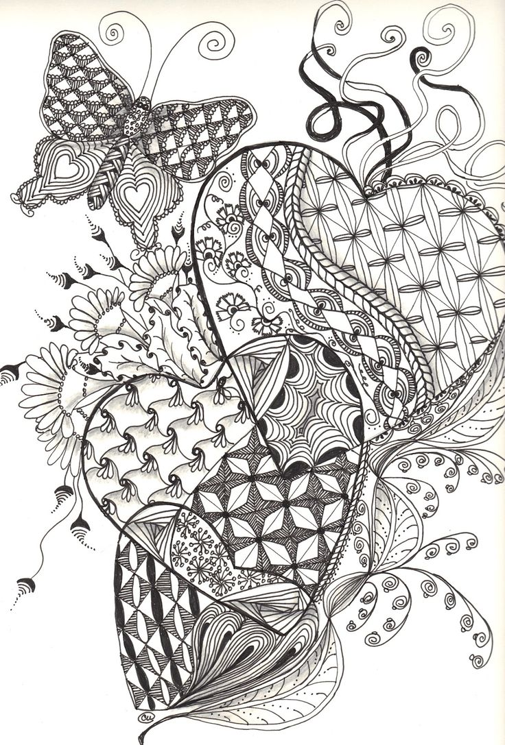 675 best images about Art: Zentangle Heart on Pinterest | Coloring ...