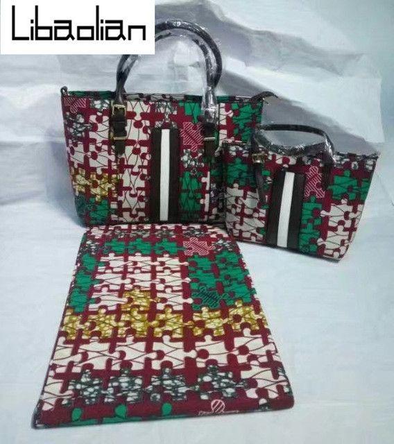High quality women fashion hand bag african wax prints fabric super wax  hollandais with 3pcs hand bag dutch wax fabric ! G75-10  349e6c5ead