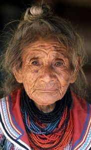 Seminole Grand Lady and Tribal Mother, Addie Billie -1989.  Face of Old Florida and New Florida. The Seminoles are not originally from Florida but began to move into the state and merge with First Nations originally from Florida in the 18th century. The received Federal recognition only in 1957. Composed of Tribes from GA, MS, and AL; and Creek from various states. 3,000 Seminoles were forced west of the Mississippi R. under Pres. Jackson's Indian Removal Act.