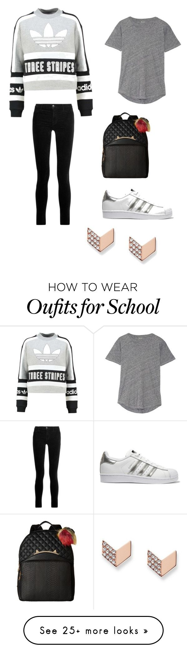 """""""Cute School Outfit """" by lsantana13 on Polyvore featuring adidas Originals, Madewell, J Brand, Betsey Johnson and FOSSIL"""