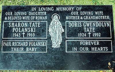 Grave of Sharon Tate (Polanski) (1943-1969) and her unborn child, both murdered by the Charles Manson gang in 1969.