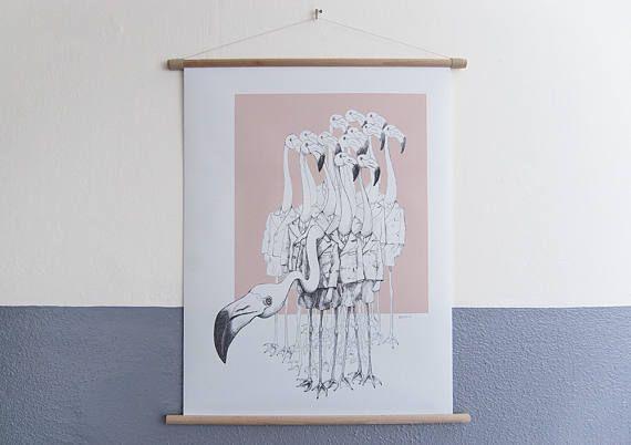 canvas poster Flamingo Boys XL kunst voor aan de muur zwart