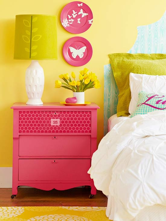 "Would be so simple to add color and texture to a bedroom.  Use some brightly colored spray paint to vamp up some old furniture, cool contact paper to create a funky ""headboard"", paint some plates to attach to the wall, stencil a boring lampshade..simple stuff!"