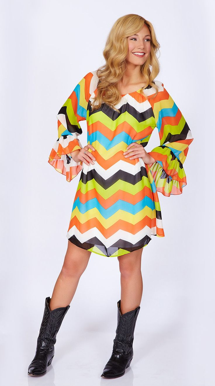 2 Tee Couture | Chevron Dress Orange