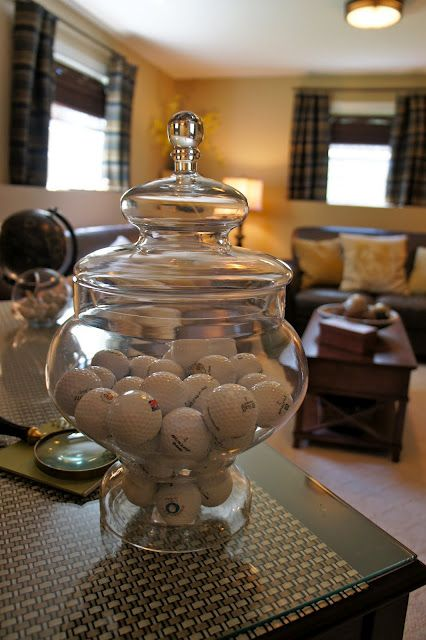 for hubby's den... finally a place for all those loose golf balls