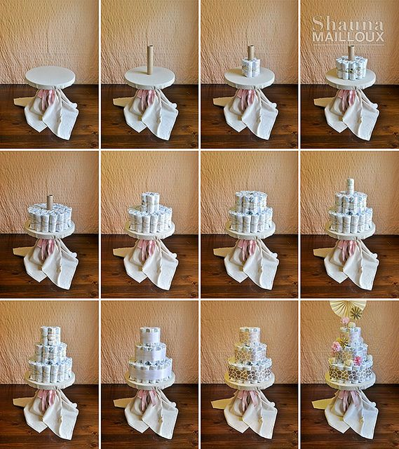 how to make a diaper cake beautiful matters coworker 39 s. Black Bedroom Furniture Sets. Home Design Ideas