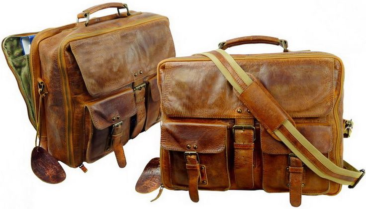 Vintage Look  Echtleder Reisetaschen Set 42cm  2- teilige Retro Boarding Bag