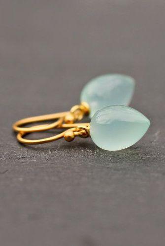 Stunning Blue Earrings Inverted Tear Drop