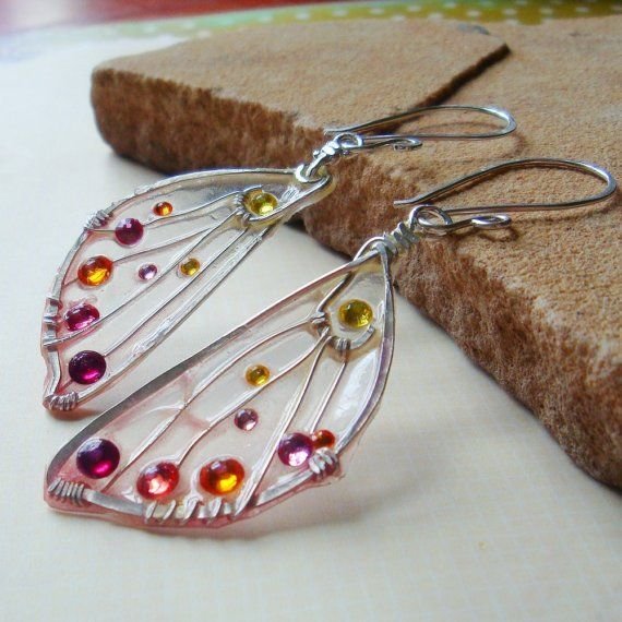 Pressed Faerie Wing Earrings - Sunrise Fae by SihayaDesigns. Simply stunning earrings.
