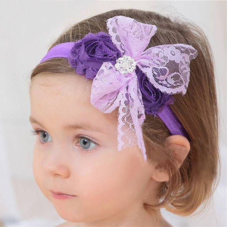 Baby haarbandje kanten strik met strass (lichtroze)