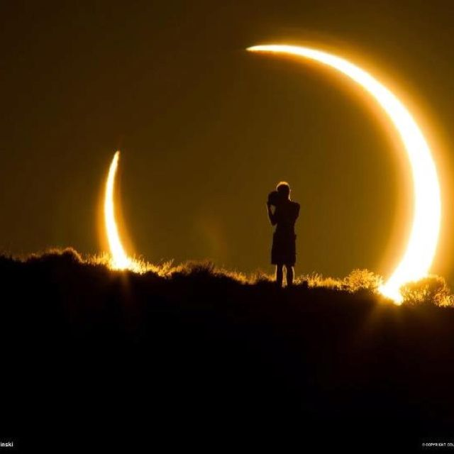 From national geographic- this is a photo of an onlooker during the Recent solid eclipse! So amazing!!