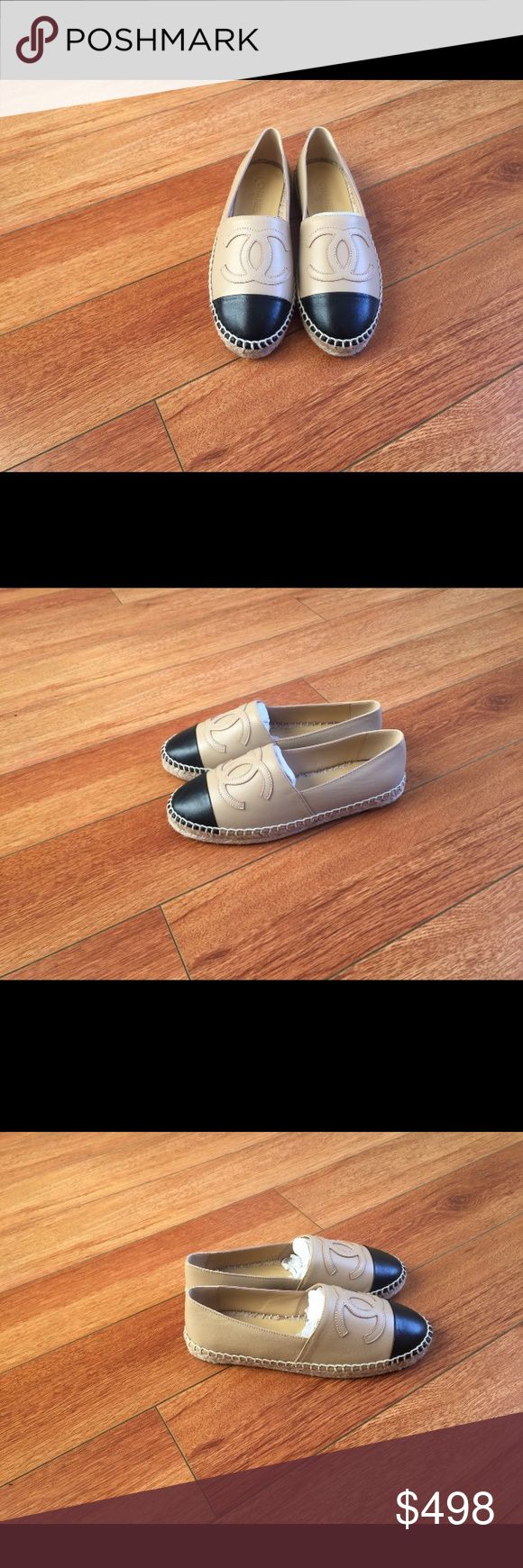 Chanel Espadrilles Beige/Black Lambskin Leather Comes with authenticity card and box. In 9/10 condition. Perfect for a gift. CHANEL Shoes Espadrilles