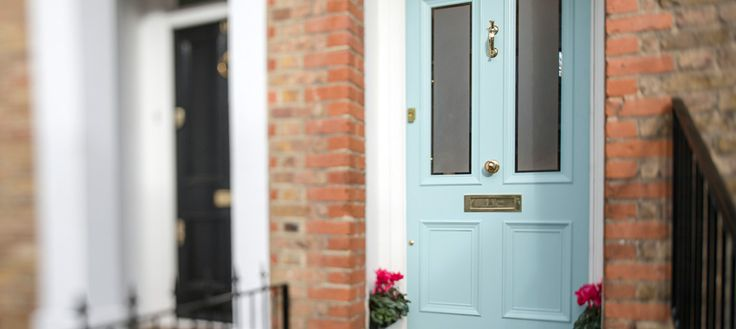 Victorian front door with sandblasted glass with a clear border, south west London