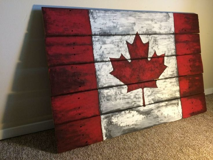 Rustic Vintage looking Canada flag art painted wood pallet sign. Great for the cottage.