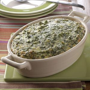 Spinach Souffle 2 packages (10 ounces each) frozen chopped spinach, thawed and squeezed dry 	1 package (8 ounces) cream cheese, cubed  	1-1/2 cups (6 ounces) shredded Monterey Jack cheese 	4 eggs, lightly beaten  	1/4 cup butter, melted  	1 garlic clove, minced 	1/2 teaspoon salt In a large bowl, combine all ingredients. Transfer to a greased 1-1/2-qt. baking dish. Bake at 350° for 35-40 minutes or until edges are lightly browned.