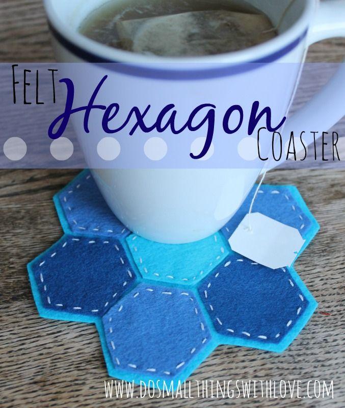 felted coasters   ... something I whipped up using felt: Felt Hexagon Snowflake Coasters