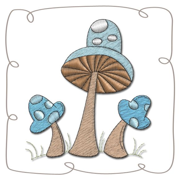Mushrooms Machine Embroidery Design pattern-INSTANT DOWNLOAD