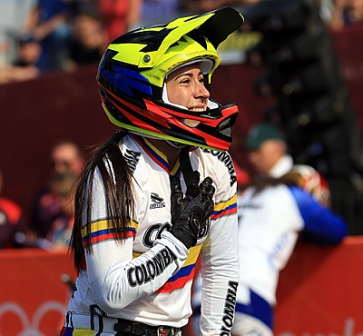Mariana Pajon of Colombia celebrates winning gold in the Women's BMX Cycling Final. (Phil Walter/Getty Images)