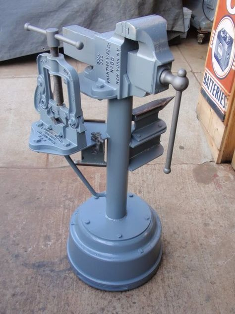 Anvil and Vise Stand by Kiwi Kev -- Homemade anvil and vise stand constructed from a surplus truck brake drum, pipe, and railroad track. http://www.homemadetools.net/homemade-anvil-and-vise-stand