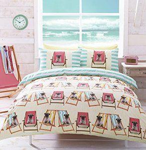 **NEW** # Bedding Hashtag Bedding Pug Dog Design Duvet Cover Set With Stripe Reverse - King: Amazon.co.uk: Kitchen & Home