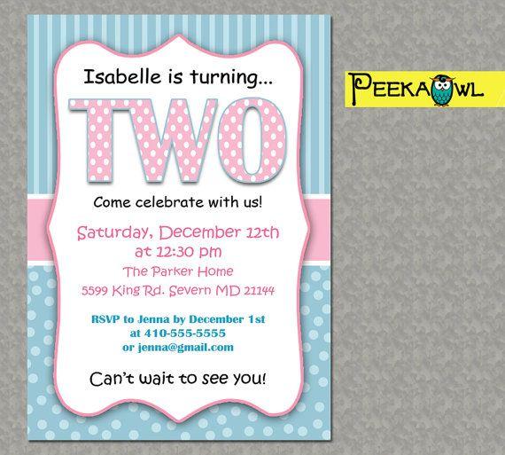 Printable 2nd Birthday Invitations Printable Two Years by PeekaOwl