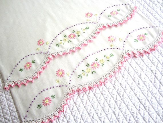 Pair of Vintage Embroidered and Crocheted Standard Pillowcases, Set of Two, Pink with Purple Celedon Green and Lemon Yellow