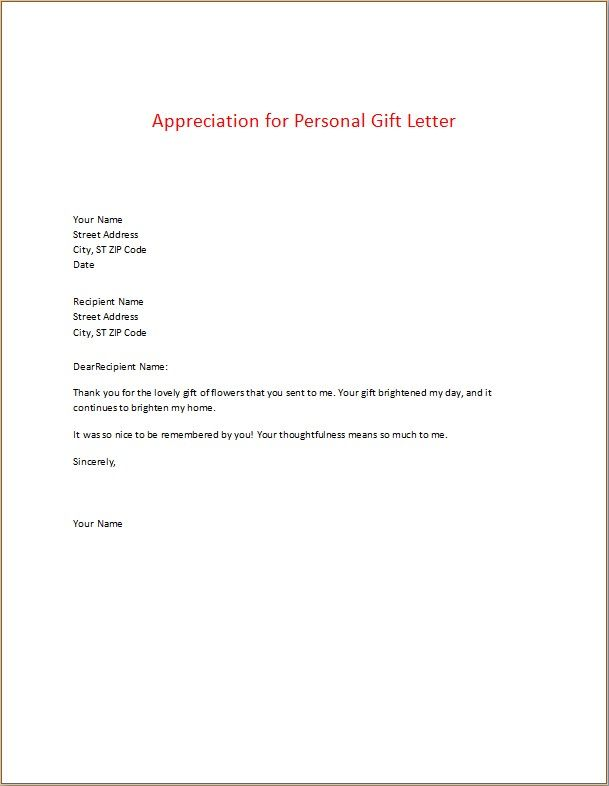 appreciation for personal gift letter