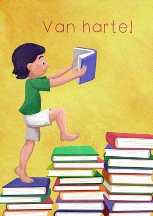 Een jongen leest een boek en loopt over een trap van boeken - van harte (© Sanne Tekent)