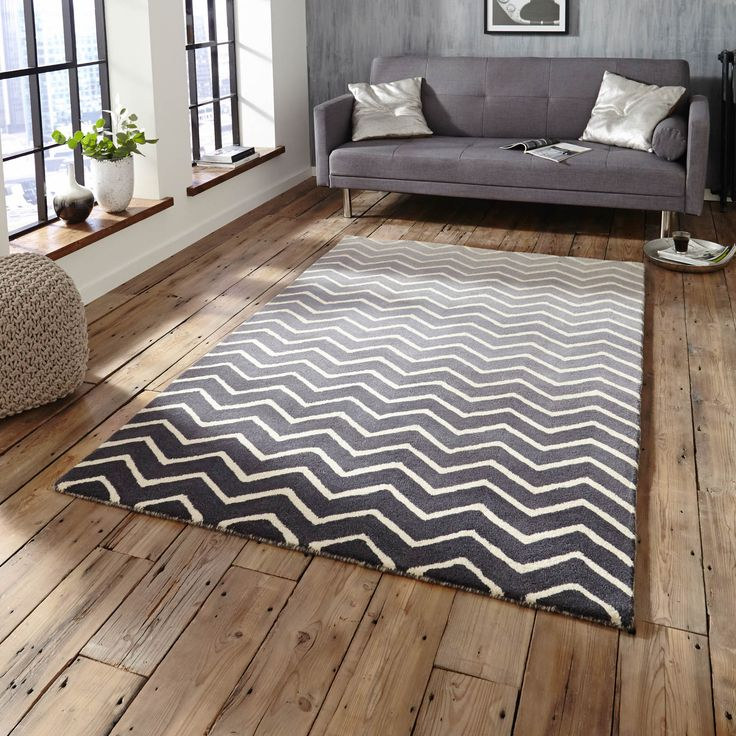 The Spectrum Rug Is Handmade In India With A Thick Soft Wool Pile This Stunning Yellow Chevron Design On Graduated Grey Background Offer High Levels