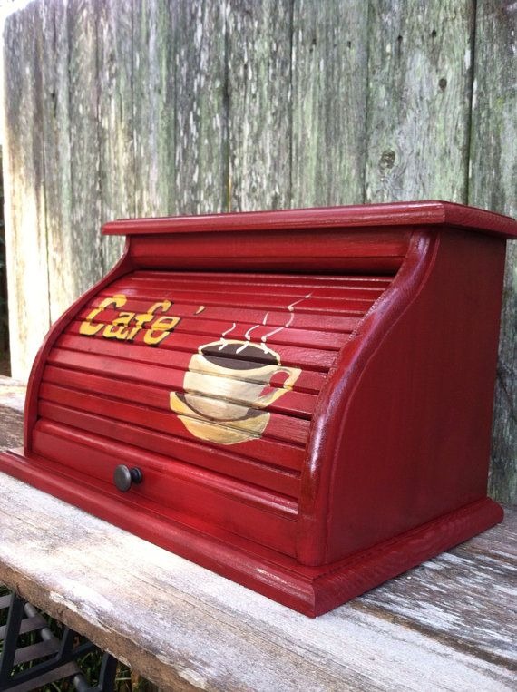 Bread box red with white coffee cup hand painted on front and steam rising up