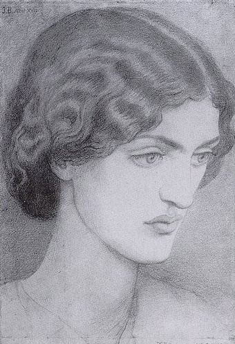 Jane Morris - Rossetti Dante Gabriel Date: 1857 Style: Romanticism Genre: portrait Media: pencil, paper