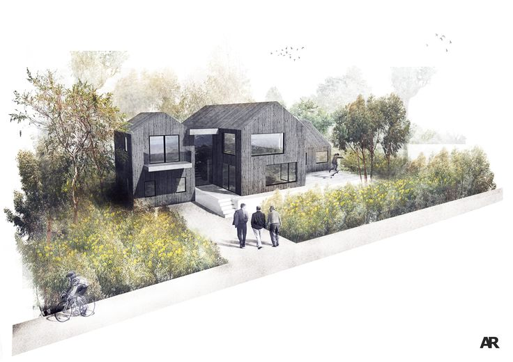 A complete overhaul of a house with fantastic sea views. The projects uses dark timber cladding with a seamless roof and wall joint to create the effect of individual beach huts.