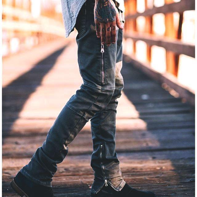 43.38$  Buy here - http://alif85.shopchina.info/go.php?t=32805713597 - 2017 Men Ripped Denim Jeans Biker Distressed Male Destroy Skinny Hip Hop Rap Classic Women Men Distressed Moto Punk Pants 43.38$ #SHOPPING