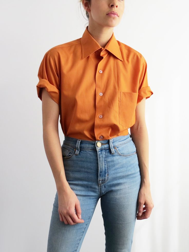 Burnt Orange Blouse // Vintage Button Up Shirt